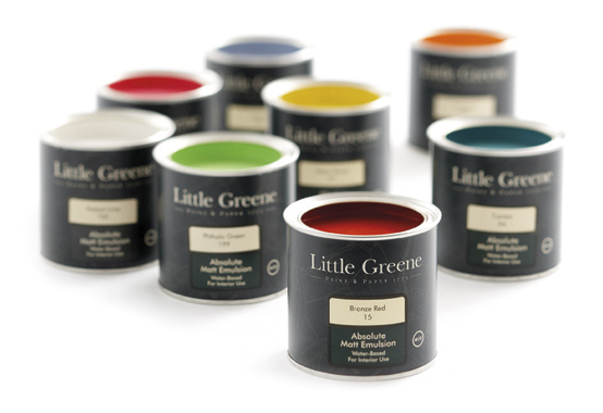 Little Greene paint cans with various colours of paint inside